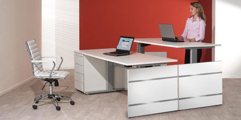 Schreibtisch Elektrisch Fur 2 Personen Nebeneinander: Höhenverstellbare Schreibtische Und Steh-Sitz Tische