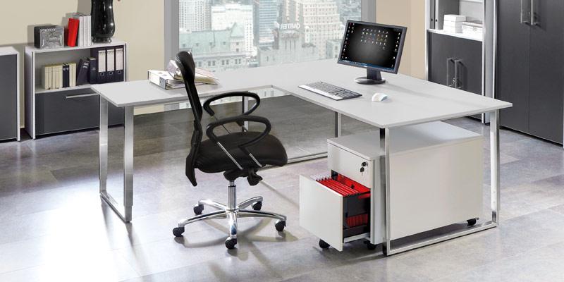 Büromöbel System Aveto: Schreibtisch höhenverstellbar, Rollcontainer