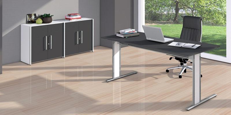 Schreibtisch C-Fuß-Gestell Büromöbel System Aveto