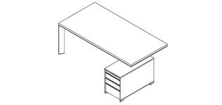 echtholzfurnier chef schreibtisch in mit container. Black Bedroom Furniture Sets. Home Design Ideas