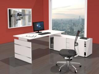komplett arbeitsplatz form 4 wangenschreibtisch mit sideboard. Black Bedroom Furniture Sets. Home Design Ideas