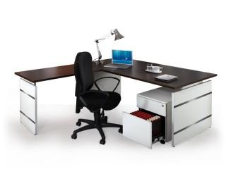 Arbeitsplatz Schreibtisch, Anbautisch und Rollcontainer Form 4