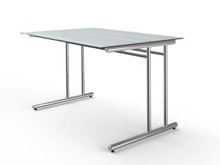 Schreibtisch Artline 7365 C-Fuß-Gestell Glas-Tischplatte