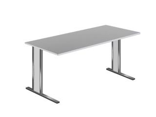 Schreibtisch C-Fuß Kerkmann Aveto 4501.1 Edelstahl-Lichtgrau
