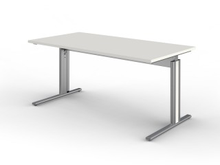 Schreibtisch Kerkmann Form 4 3708, C-Fuß-Gestell, Tischplatte weiß