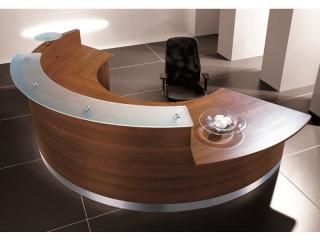 Empfangstheke eMel mit Tisch 3297x1590 mm, bogenförmig