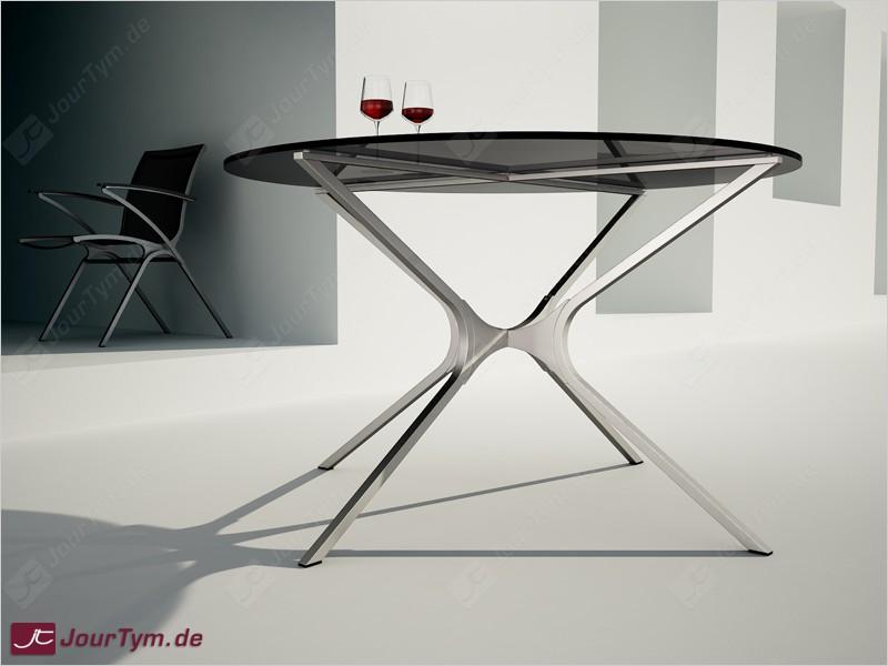 Design runder tisch xsteel jt01d02 edelstahl rauchglas for Design tisch edelstahl