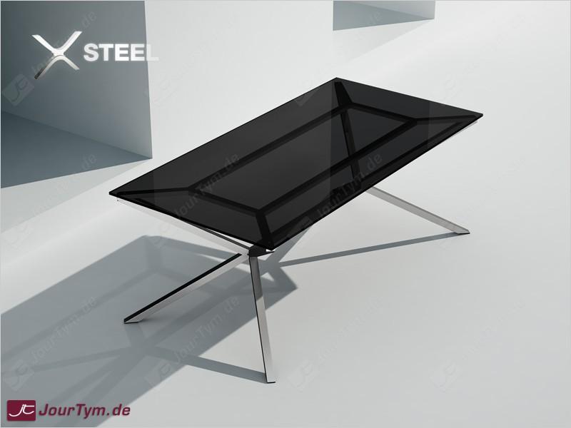 Design esszimmertisch xsteel jt47p09 edelstahl rauchglas for Design esszimmertisch