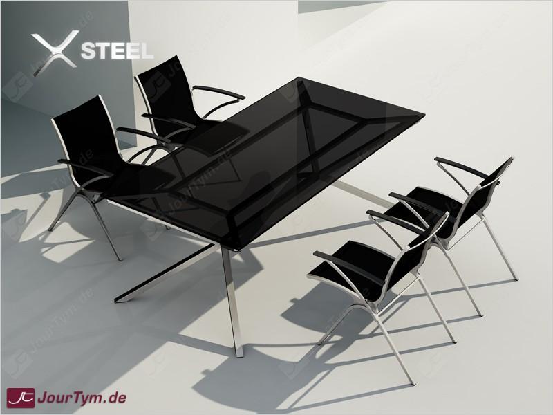 Design esstisch xsteel jt01s03 mit 4 st hlen jourtym for Esszimmer italienisches design