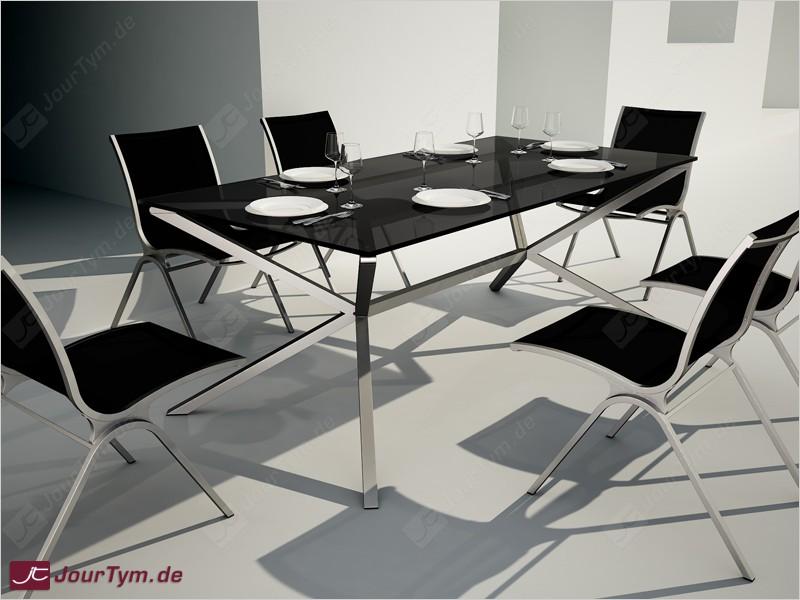 design esstisch garnitur xsteel jt01s05 mit 6 st hlen. Black Bedroom Furniture Sets. Home Design Ideas