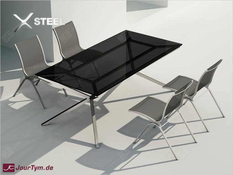 Design esstisch xsteel jt01s06 mit vier st hlen for Esszimmer italienisches design