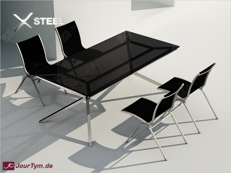 Design Esszimmer Garnitur XSTEEL JT01S07 Esstisch + 4 Stühle
