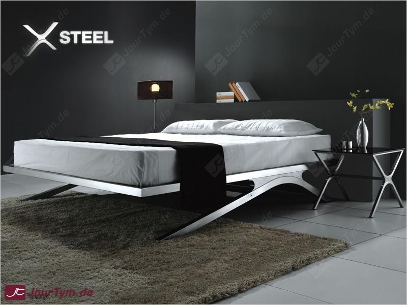 Design bett xsteel jt01k01 edelstahl batyline schwarz for Bett design