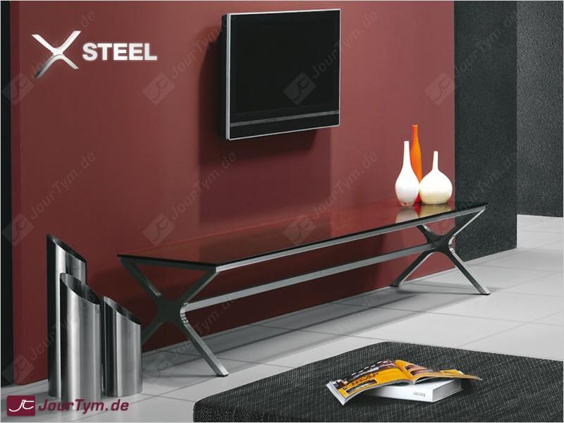 Design TVBank XSTEEL JT01N01 Edelstahl Rauchglas