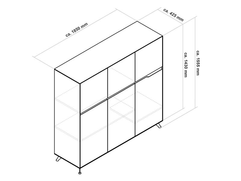 Büromöbel Livorno XL Kirsche links Schreibtisch mit Aktenschrank