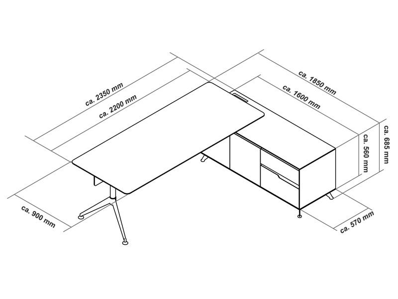 Büromöbel Livorno XL Kirsche rechts Schreibtisch mit Aktenschrank