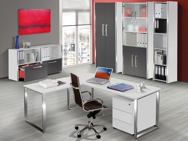 Büromöbel weiss grau  Büromöbel Komplettangebot | Komplett Arbeitszimmer