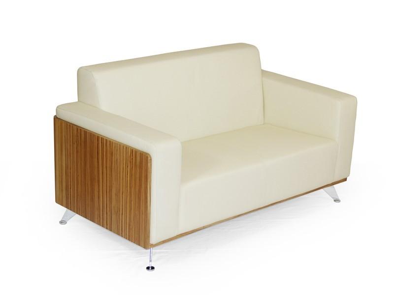 Business Couch 2 Sitzer Milano Leder Weiß Zebrano White Edition