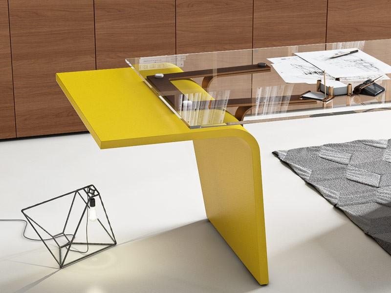 Büromöbel Design Schreibtisch Glas Italienisch; RAL Farbe Design  Schreibtisch Klarglas ...