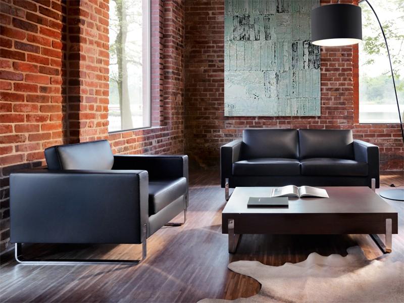 lounge sessel in leder f r b ro jourtym b rom bel. Black Bedroom Furniture Sets. Home Design Ideas