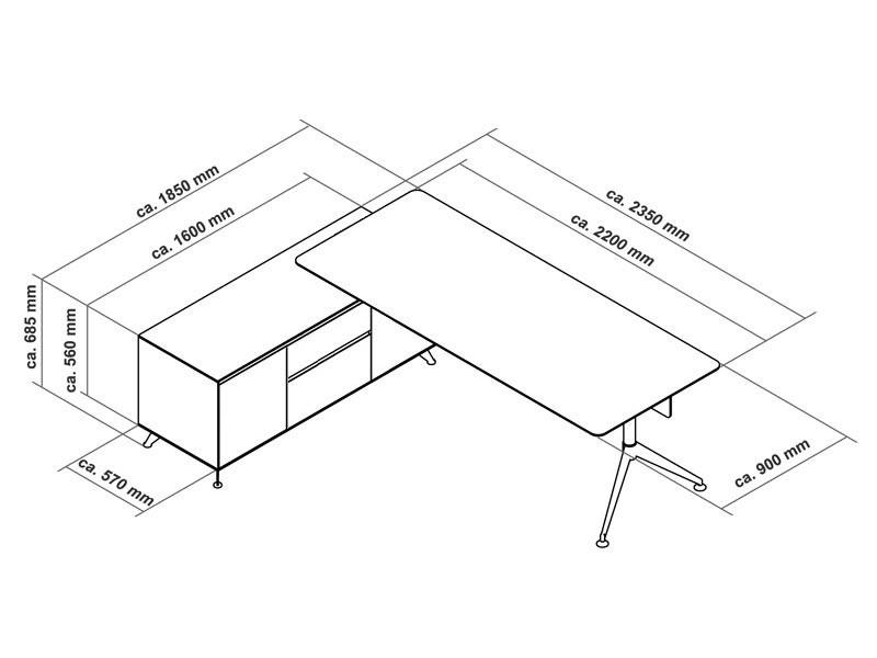 Büromöbel Schreibtisch Livorno XL Zebrano links bei JourTym kaufen