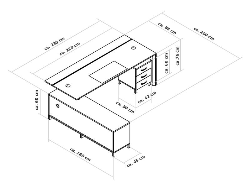 Obstkisten Tisch Maße ~ Schreibtisch Container  LTisch Foggia günstig kaufen