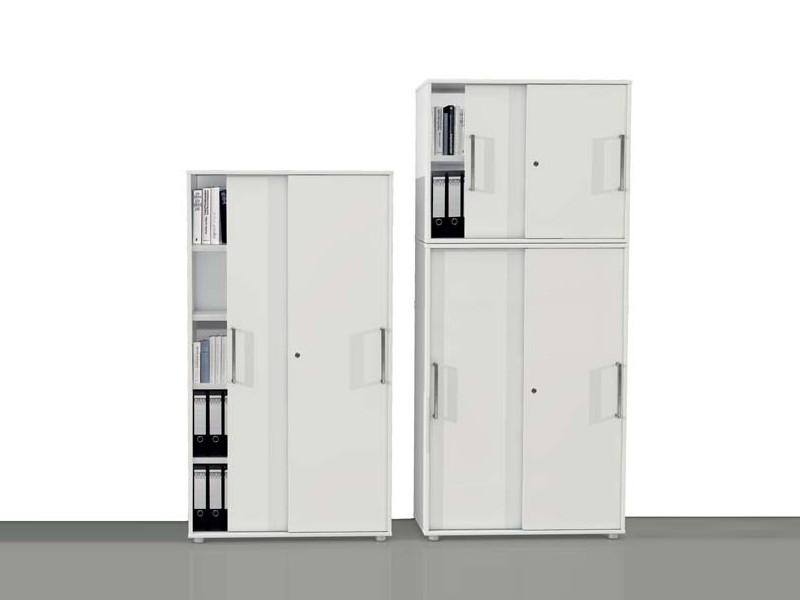 Büroschrank weiß  Büroschrank 2 OH mit Schiebetüren 4495 Kerkmann Form 4 weiß
