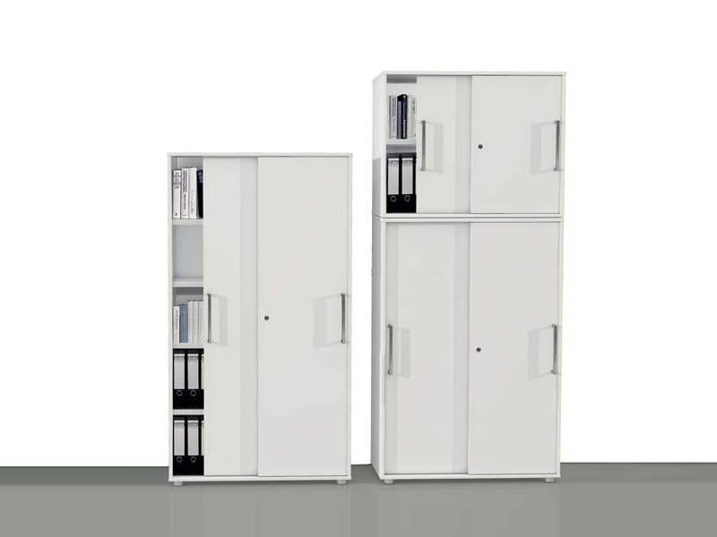 Büroschrank weiß abschließbar  Büroschrank 2 OH mit Schiebetüren 4495 Kerkmann Form 4 weiß