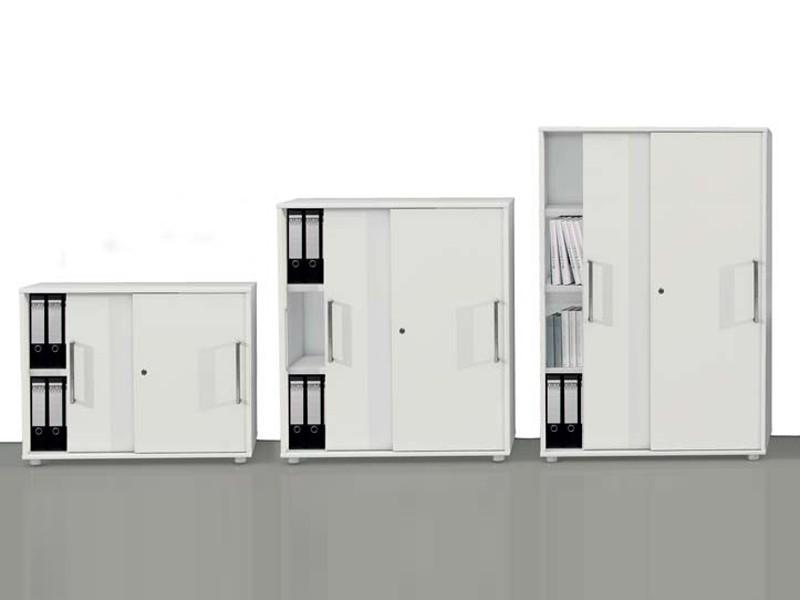Büroschrank abschließbar  Büroschrank 2 OH mit Schiebetüren 4495 Kerkmann Form 4 weiß