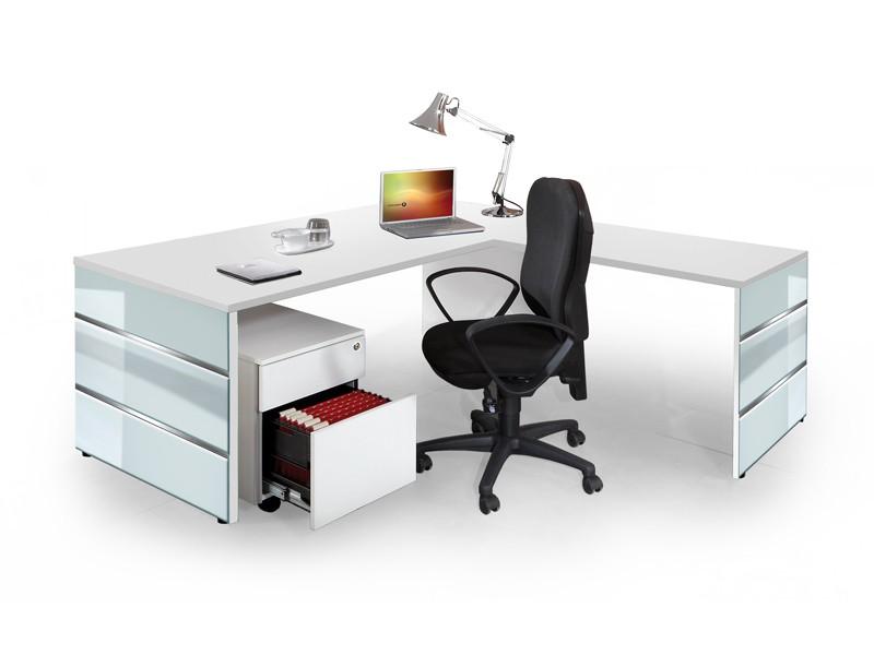 schreibtisch mit anbautisch und rollcontainer lugano. Black Bedroom Furniture Sets. Home Design Ideas
