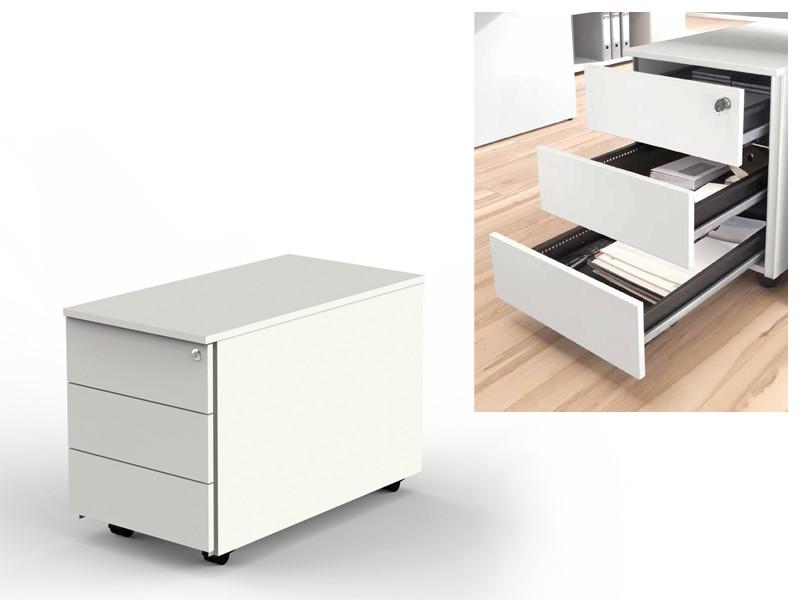 ... Schreibtisch Mit Wangengestell, Rollcontainer 4557 Weiß, Drei Schubladen  ...