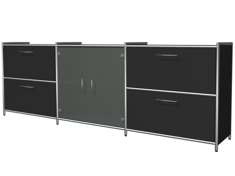 sideboard mit glas kerkmann wei 7326. Black Bedroom Furniture Sets. Home Design Ideas