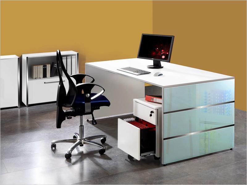 schreibtisch mit rollcontainer wangenschreibtisch lugano. Black Bedroom Furniture Sets. Home Design Ideas