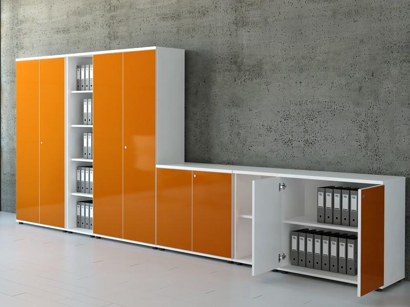 Büroschrank weiß hochglanz  Aktenschrank Gloss Push-to-open-System