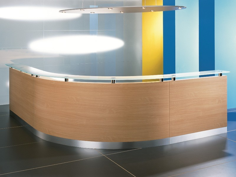 Empfangsmöbel 90 Grad gebogene Theke 3300x2900 mm Büromöbel